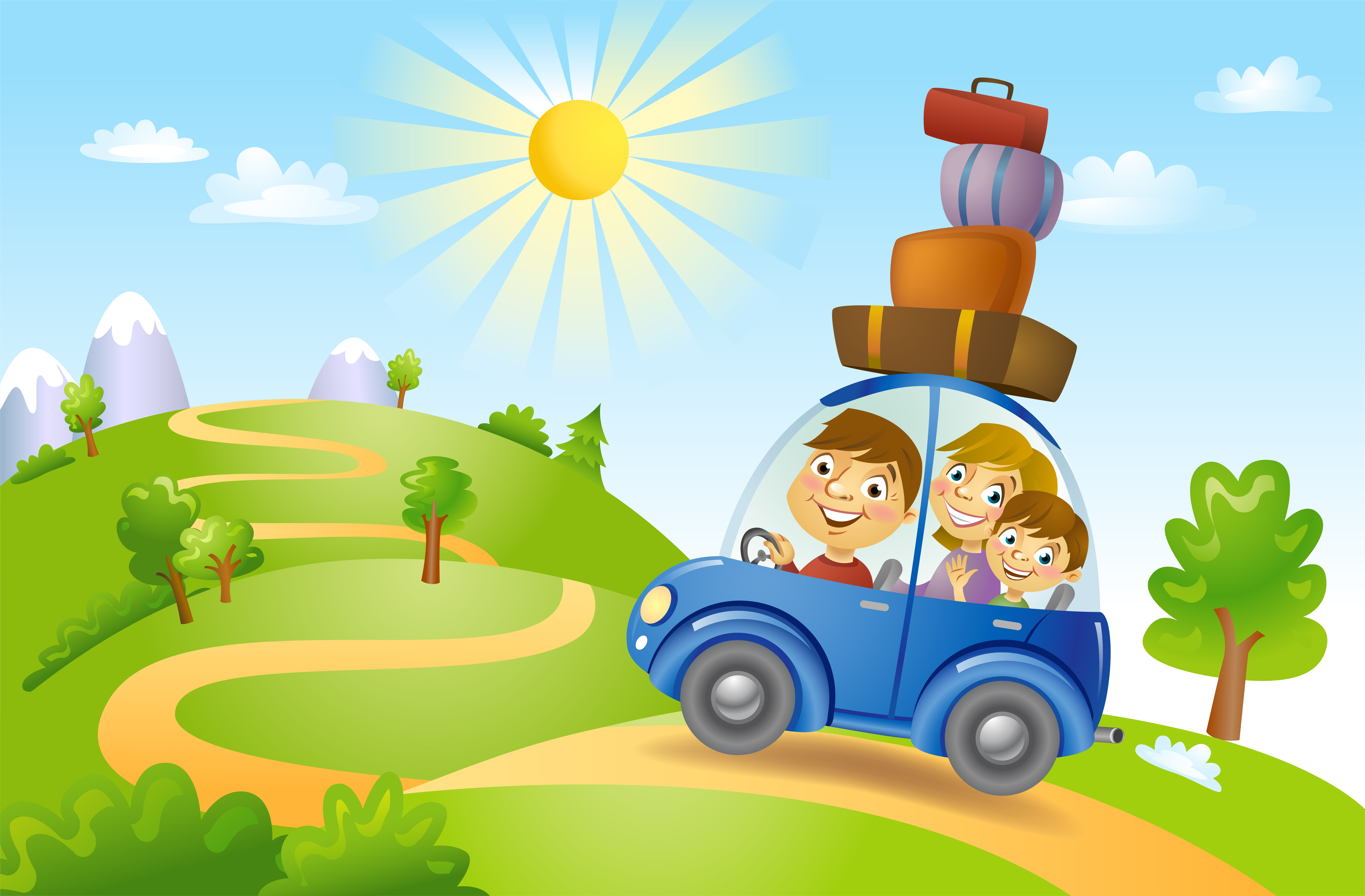 Family traveling in car, vector illustration